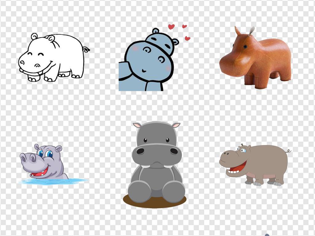 幼儿园可爱动物河马动物手绘海报png素材