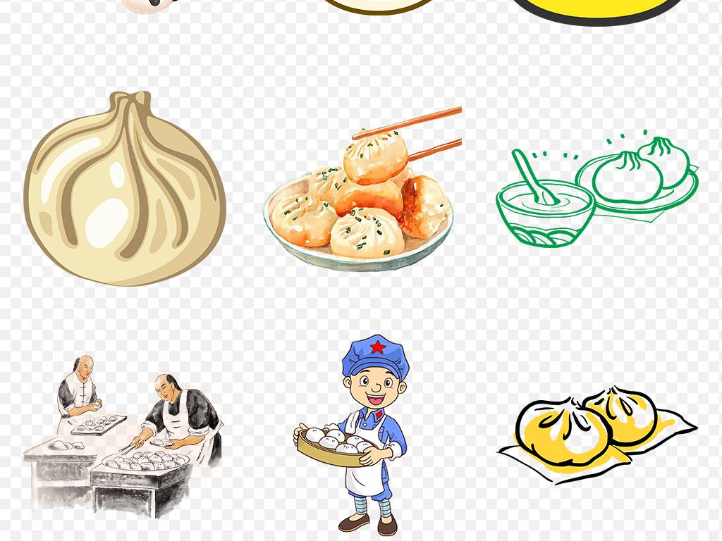 卡通手绘包子小包子蒸小笼包海报素材背景图片png