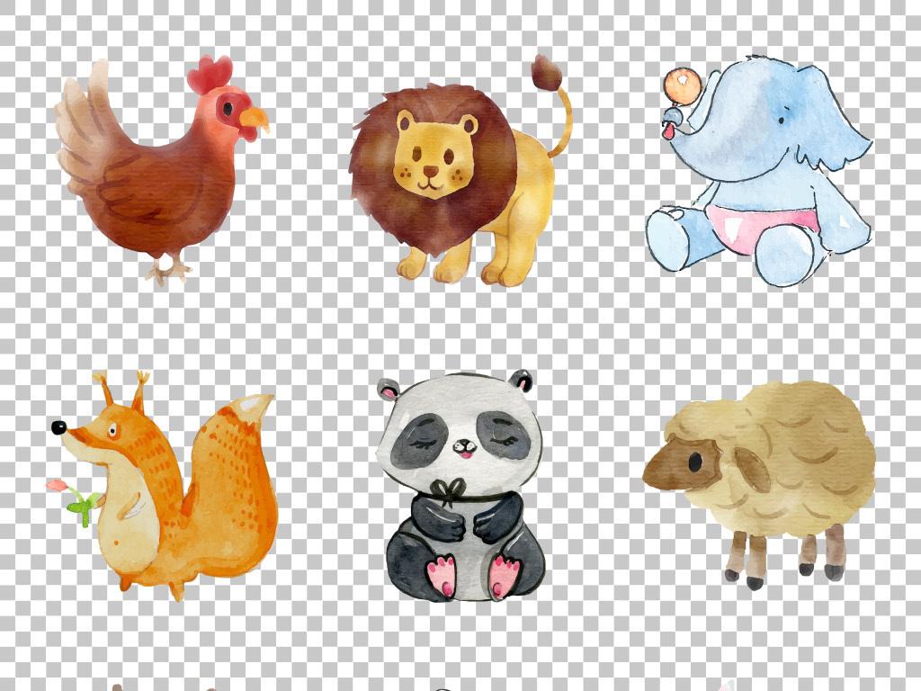 小清新水彩手绘卡通小动物免抠png素材
