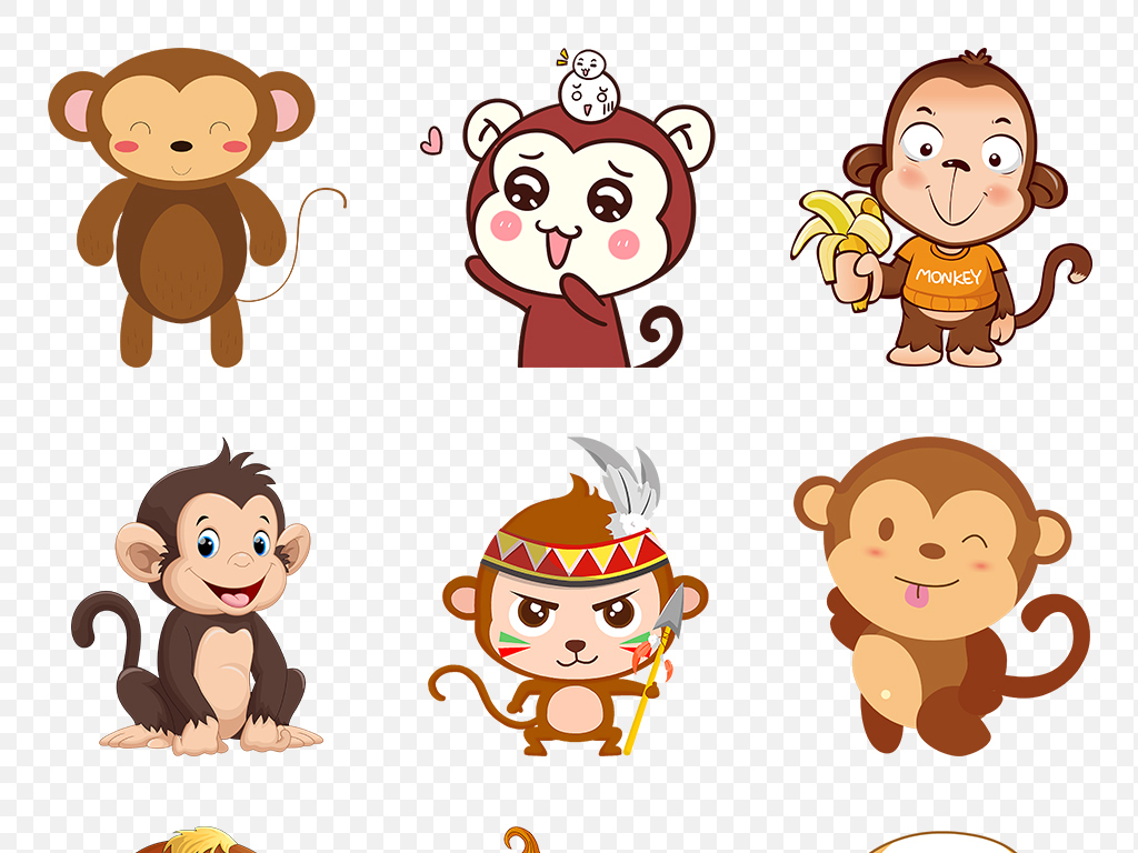 卡通手绘呆萌可爱猴子动物海报素材背景图片png