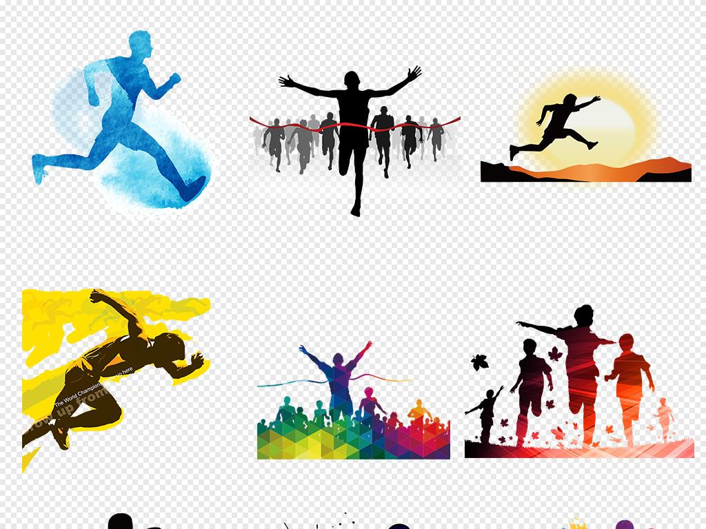 水彩手绘跑步奔跑吧运动人物剪影海报素材背景图片png