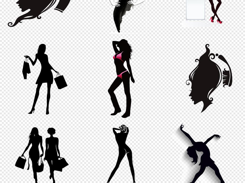 免抠元素 人物形象 美女 > 卡通手绘女人剪影美女剪影png免抠素材