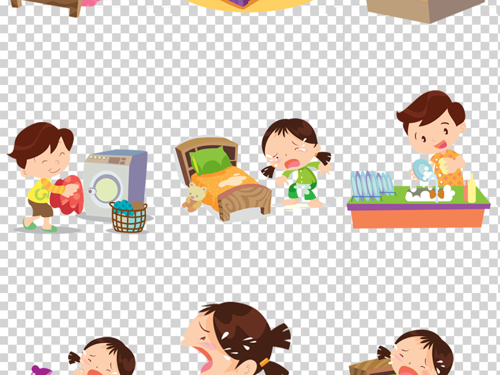 卡通可爱男女儿童小孩睡觉起床气哭泣做家务生病ui设计矢量素材
