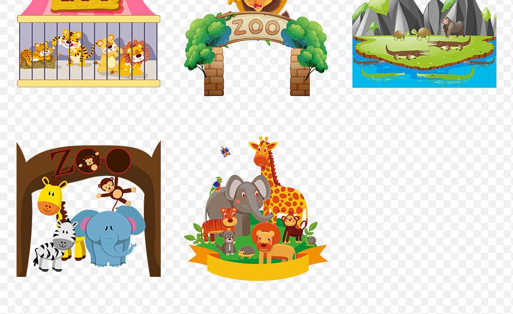 卡通手绘动物园大自然野生动物海报素材背景图片png