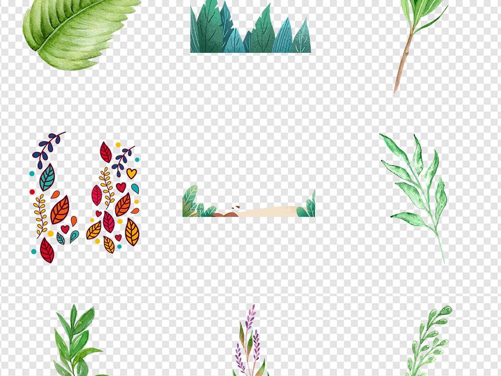 手绘水彩树叶绿植森系北欧热带雨林装饰边框