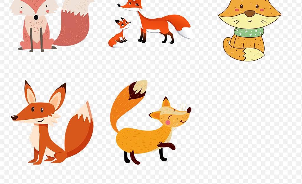 卡通手绘水彩狐狸动物海报素材背景图片png