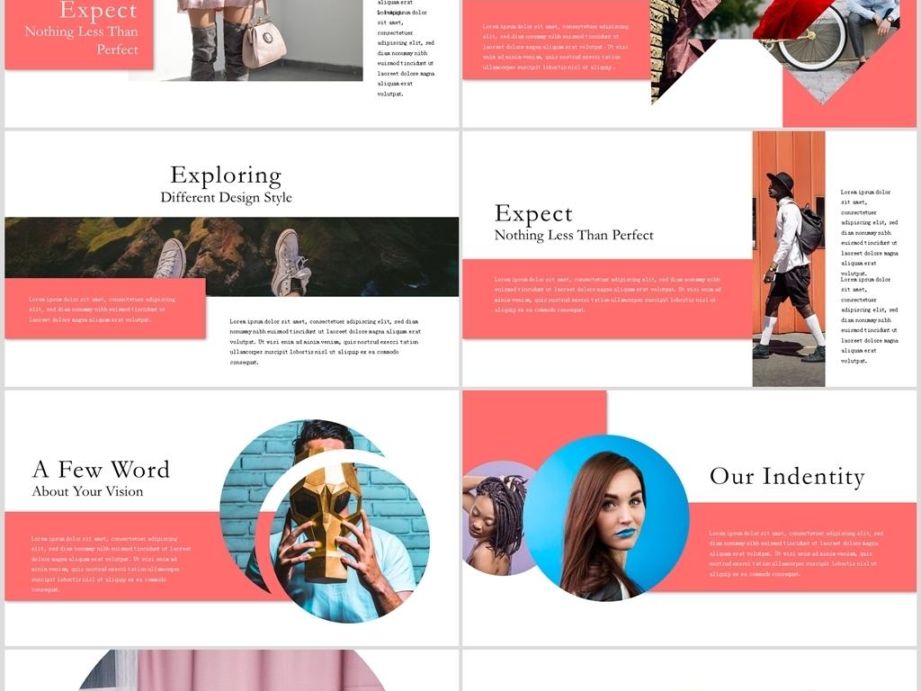 时尚红色欧美杂志风品牌宣传展示ppt模板图片