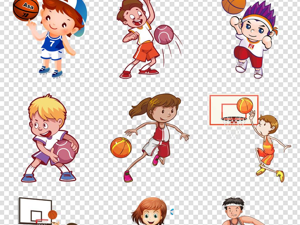免抠元素 人物形象 动漫人物 > 儿童打篮球比赛剪影免扣png  素材图片