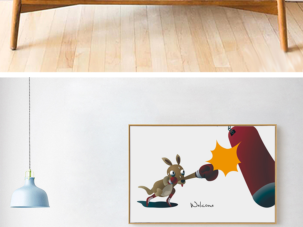 北欧ins风3d拳击动物电表箱装饰画