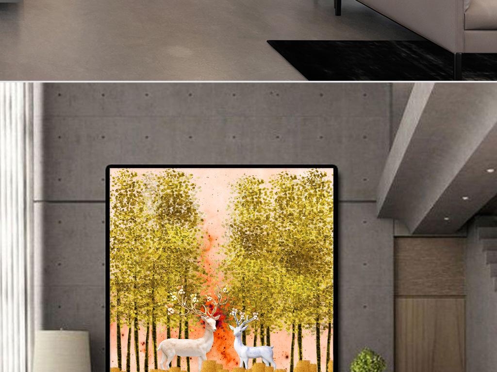 欧式金色发财树风景立体麋鹿客厅装饰画