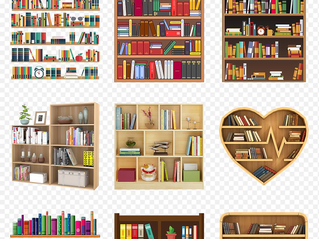 卡通手绘书架书丛展架海报素材背景图片png图片
