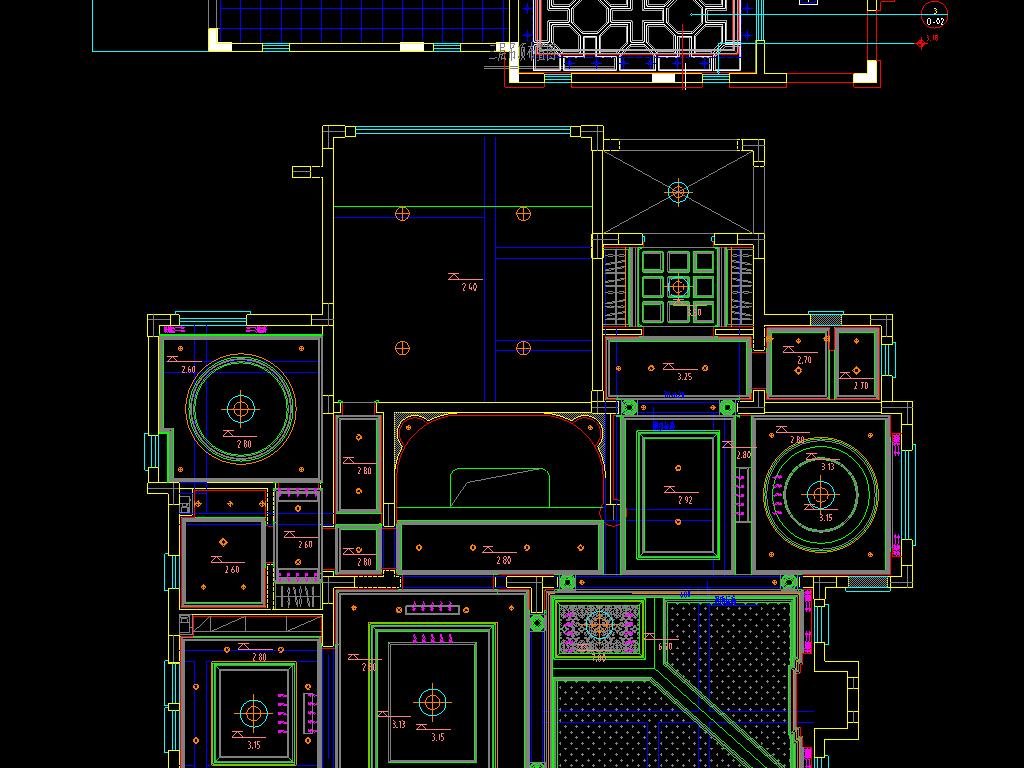 各类天花顶棚cad图集平面设计图下载(图片4.78mb)_图
