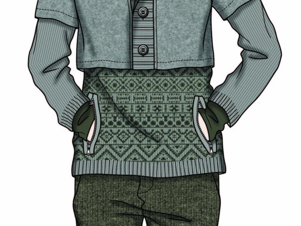时尚针织男装设计手稿高清素材设计素材图集