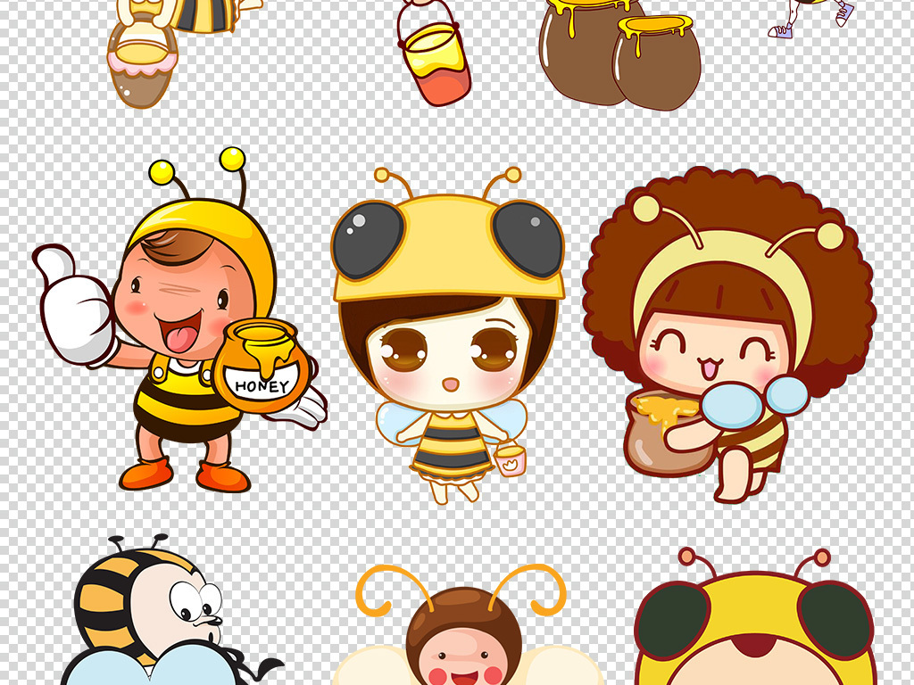 小孩蜜蜂儿童                                          手绘蜜蜂