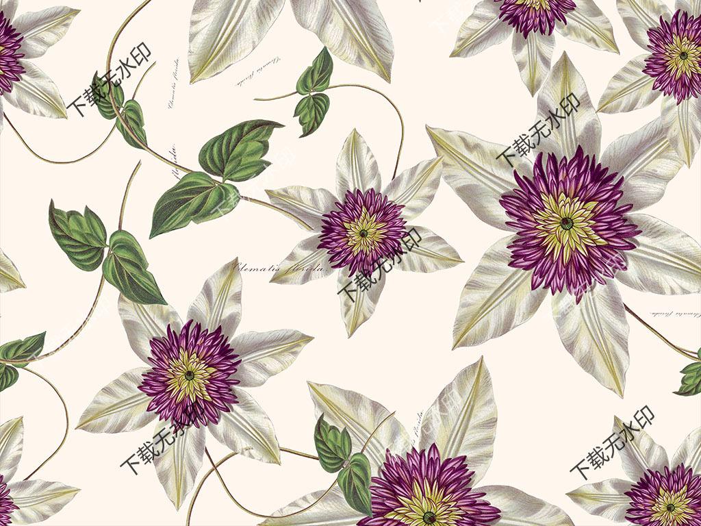 原创简约清新手绘小花无缝图案植物花卉