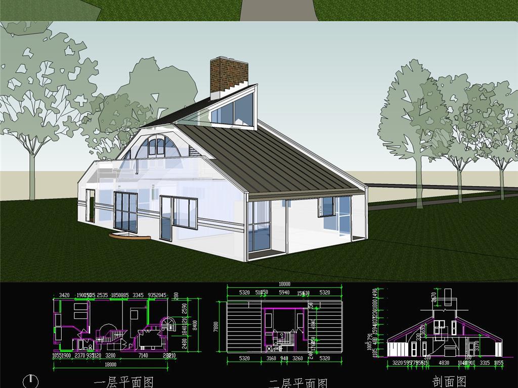 模型库 su模型 建筑模型 > 母亲住宅别墅su模型 cad平立剖图纸  素材