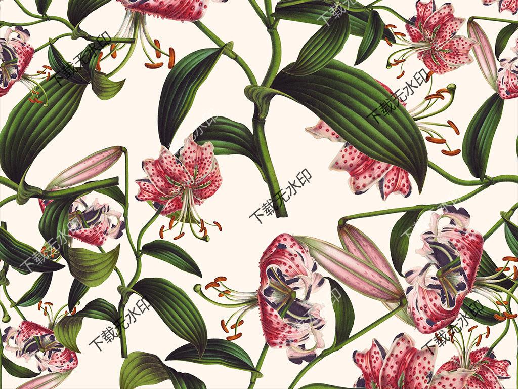 时尚手绘花卉花型数码印花服装女装家纺面料