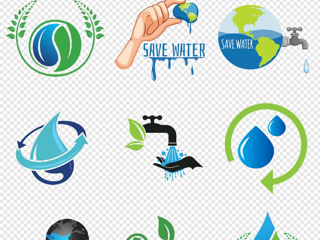 卡通手绘蓝色水滴png节约用水图标png节约用水png节能png节水