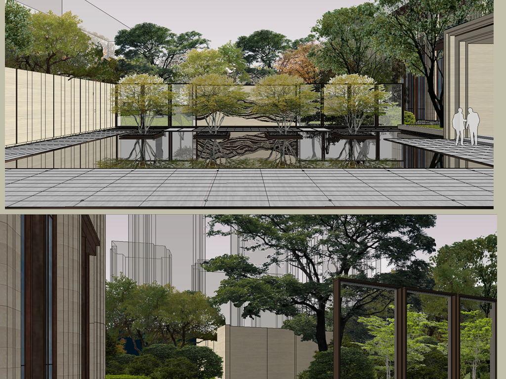 新中式住宅小区入口大门景观别墅庭院景观设计方案