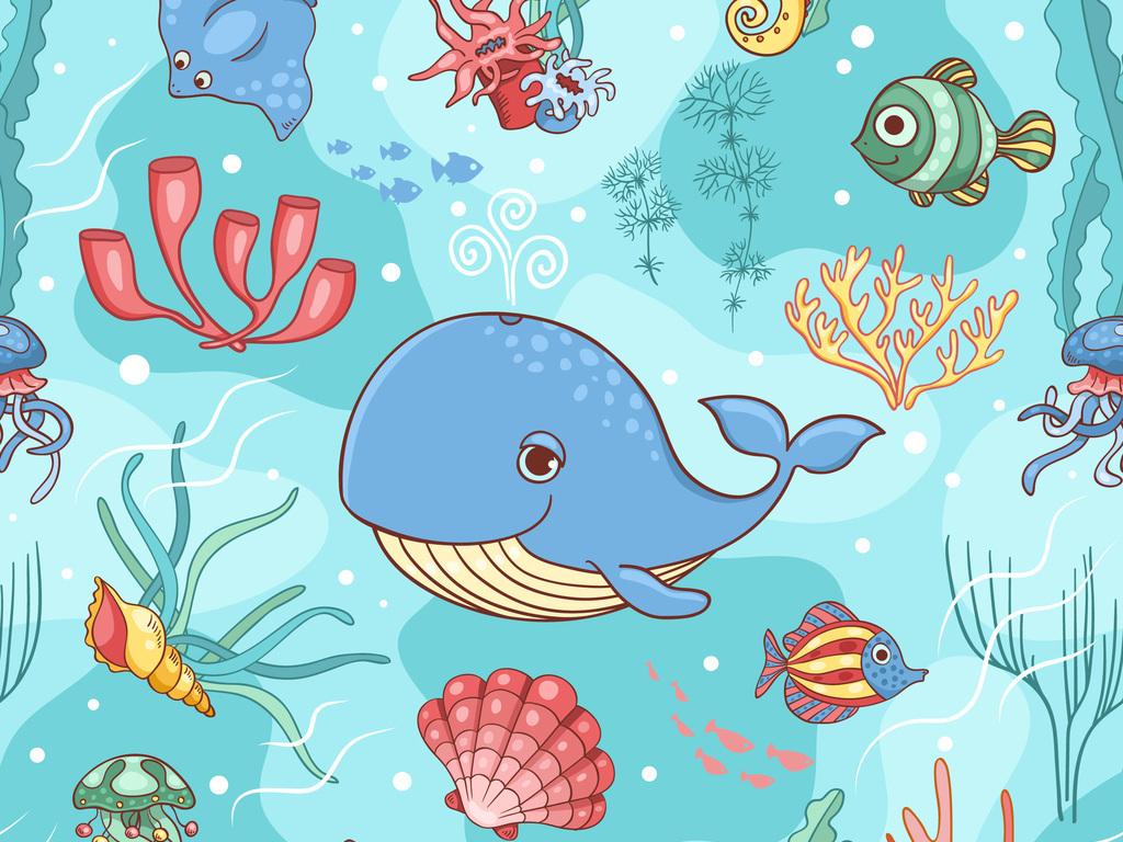 服装/配饰印花图案 卡通图案 > 卡通海洋元素海草珊瑚小鱼童装家纺