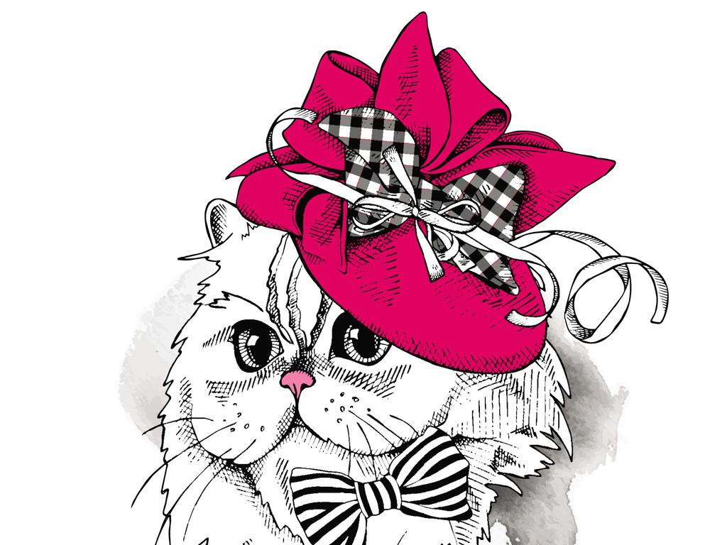手绘可爱卡通猫咪t恤印花