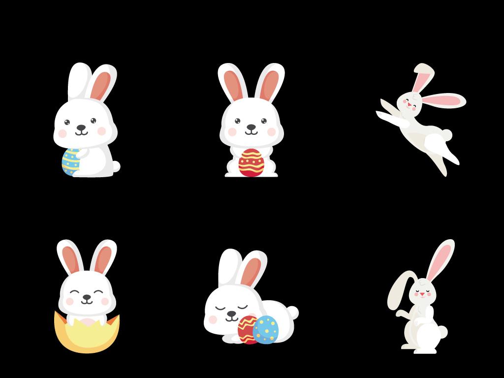 原创卡通小兔子小动物手绘彩蛋矢量素材