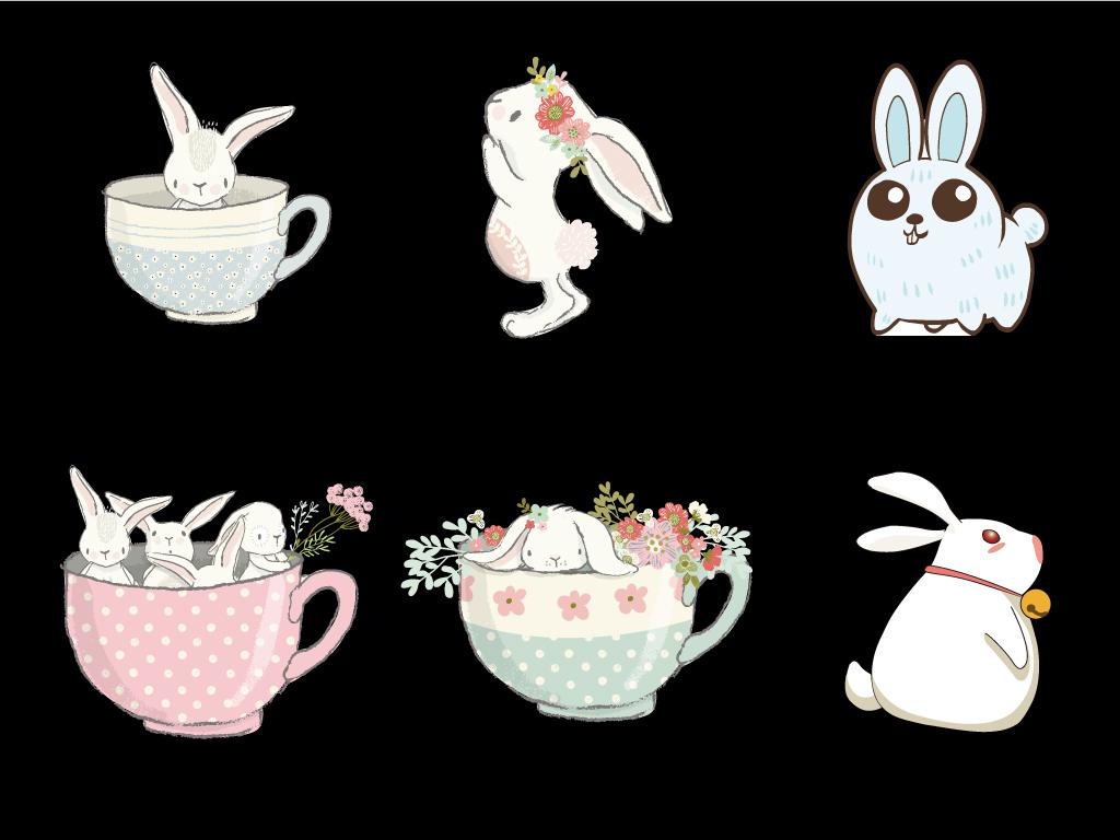 可爱小兔子装饰小动物手绘彩蛋海报图片素材_ai模板(.
