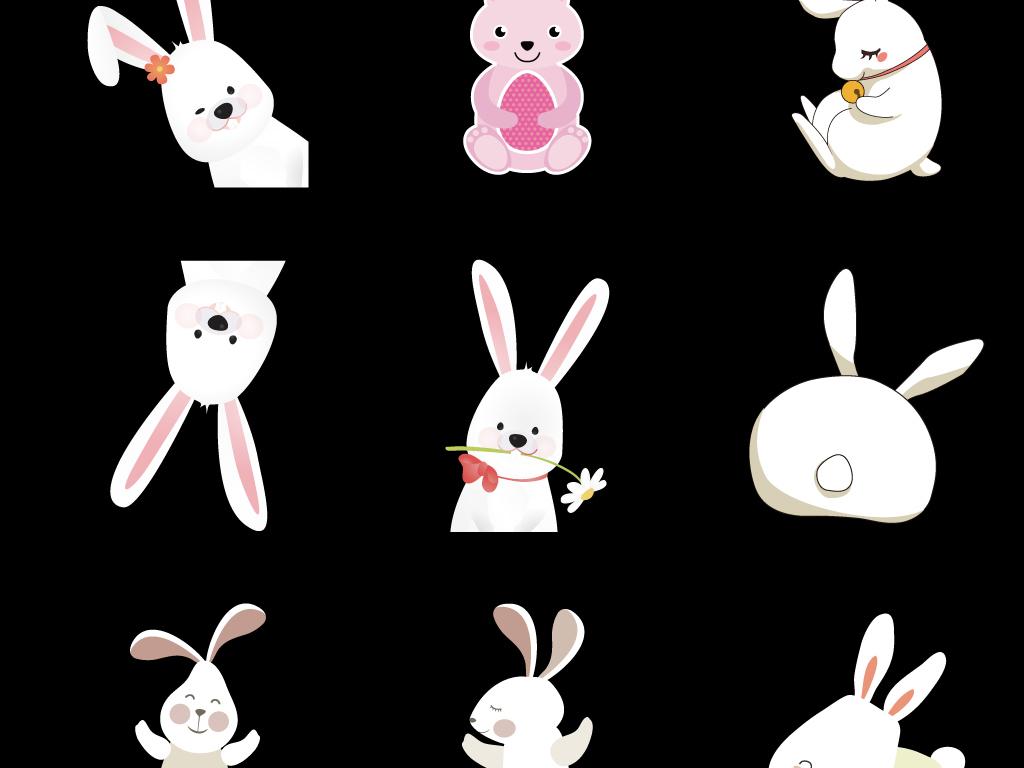 可爱小兔子装饰小动物手绘彩蛋海报
