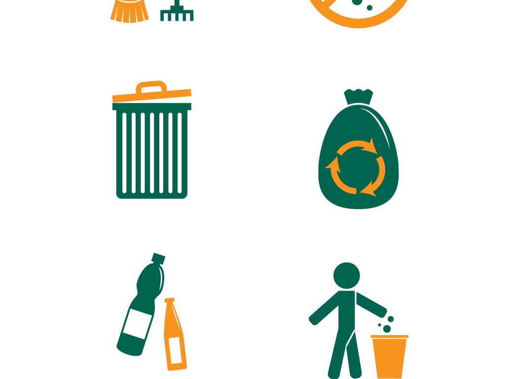 环保手绘垃圾桶垃圾分类图标海报矢量素材