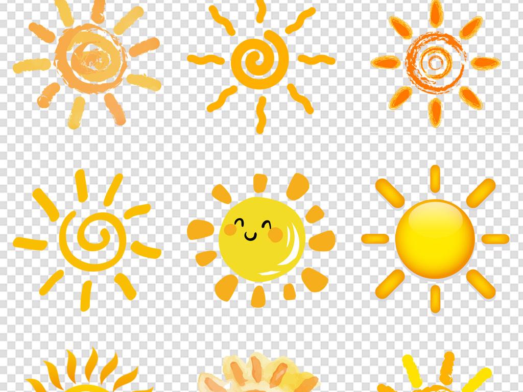 卡通手绘太阳海报素材背景免扣png