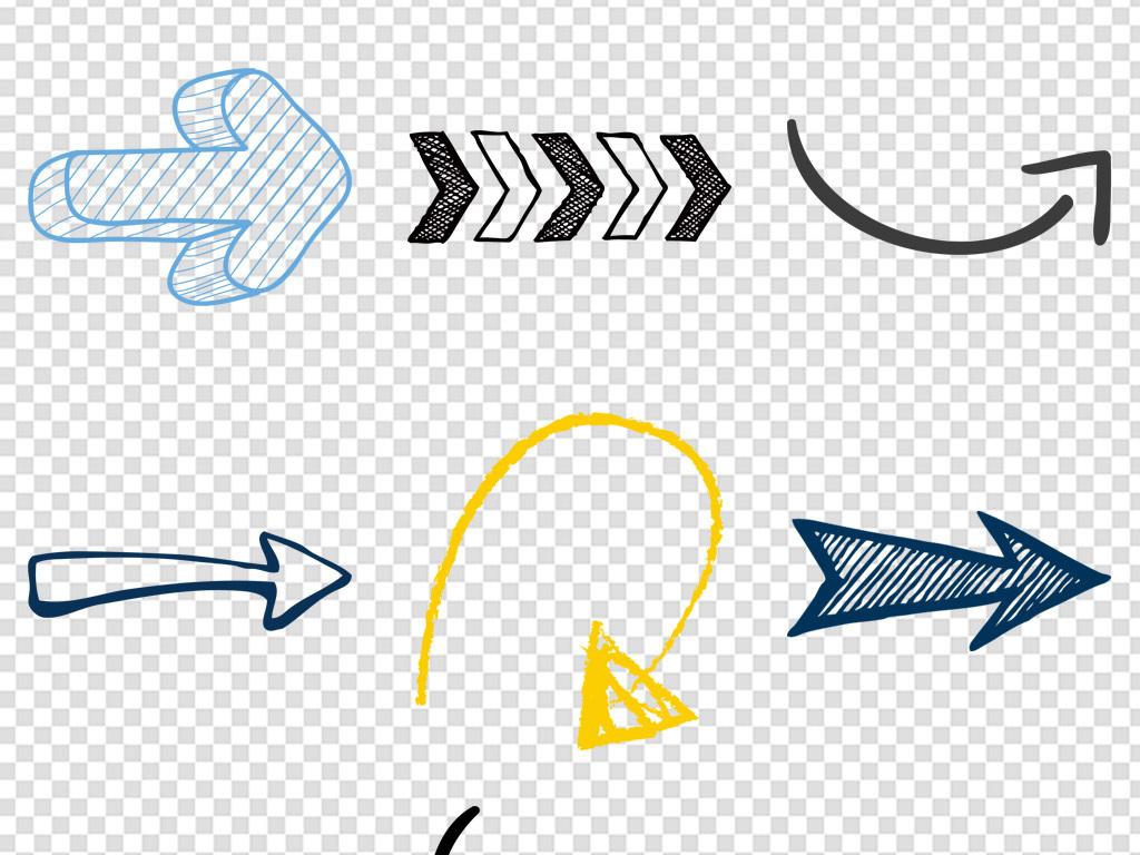 手绘立体箭头商务办公海报背景素材png