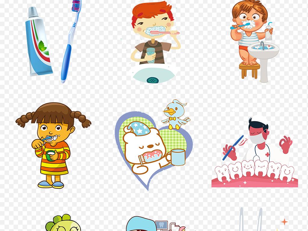 卡通手绘刷牙保护牙齿健康海报素材背景图片png
