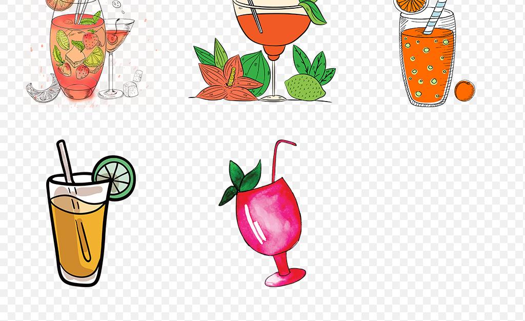 卡通手绘水彩果汁饮品饮料冷饮海报素材背景图片png