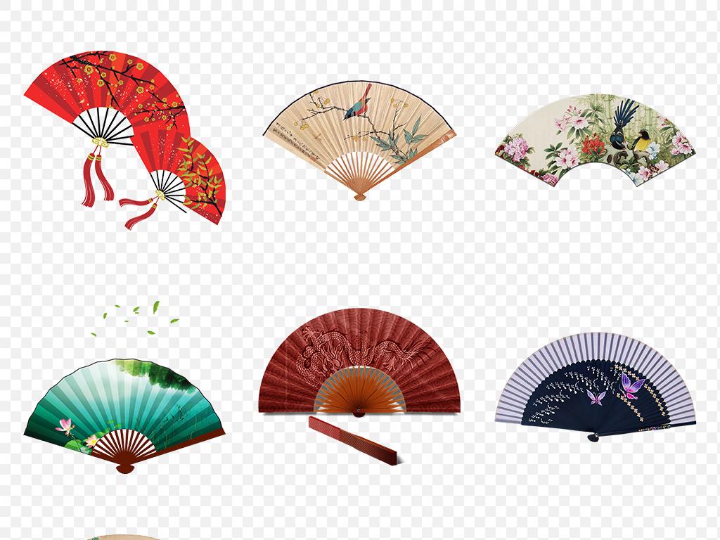 卡通手绘中国风古典古风扇子海报素材背景图片png