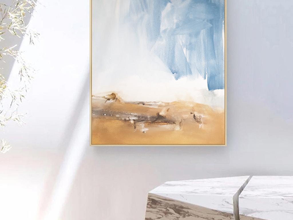 北欧ins油画岩石海面风景装饰画