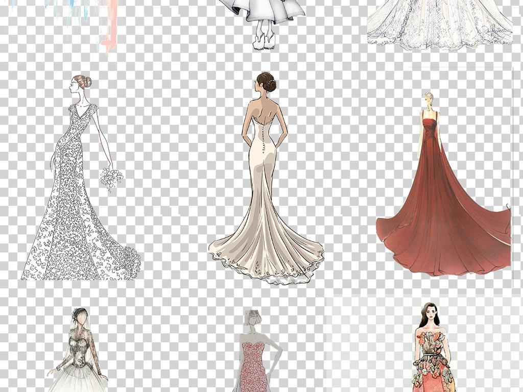 唯美水彩手绘婚纱礼服照片装饰美化png免扣透明设计素材