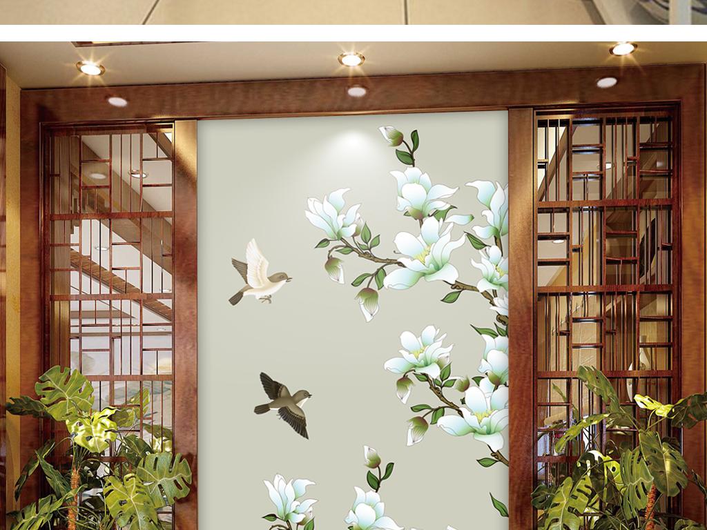 工笔花鸟中式玉兰玄关过道背景墙装饰画墙画