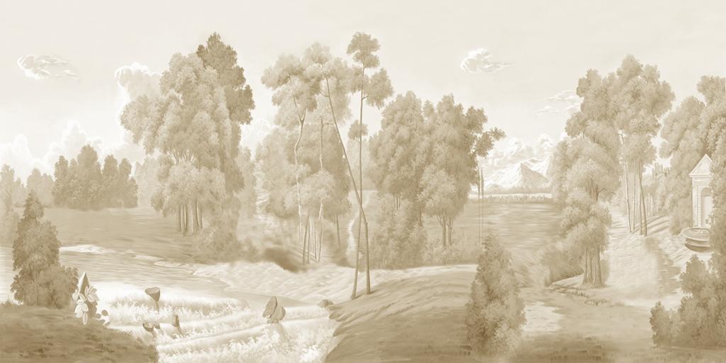 欧式美式手绘西洋画丛林树林乡村田园背景墙图片素材 效果图下载 欧式电视背景墙图大全 电视背景墙编号 18760887