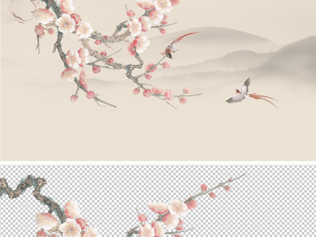 分层工笔梅花鸟背景墙手绘山水花鸟装饰画