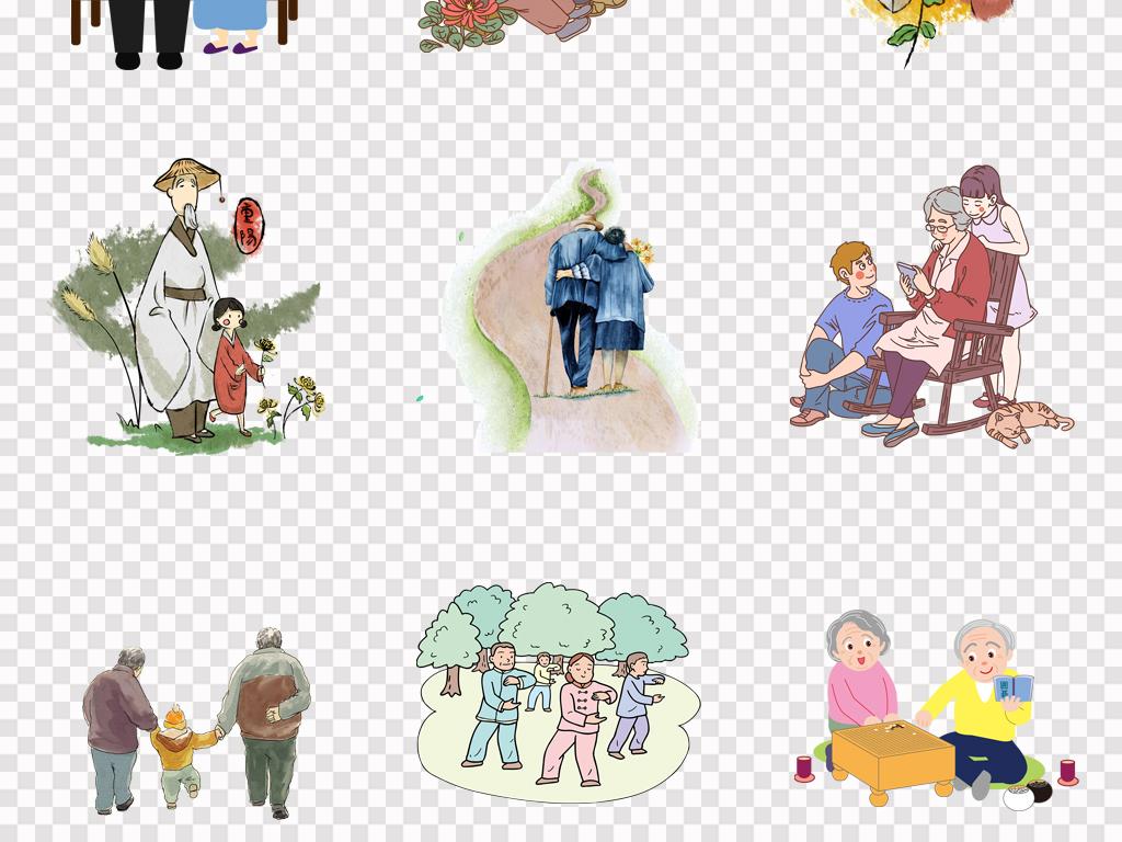 免抠元素 人物形象 帅哥 > 手绘卡通老人老奶奶老爷爷重阳节插画png
