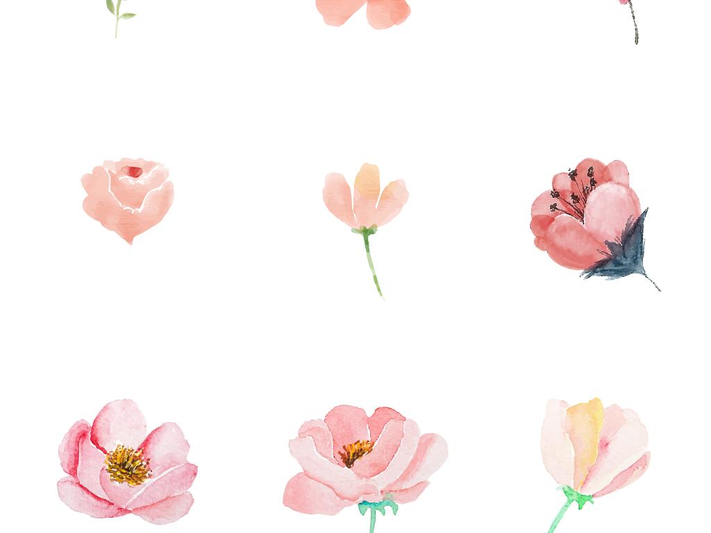 卡通手绘水彩清新花卉花朵矢量素材图片