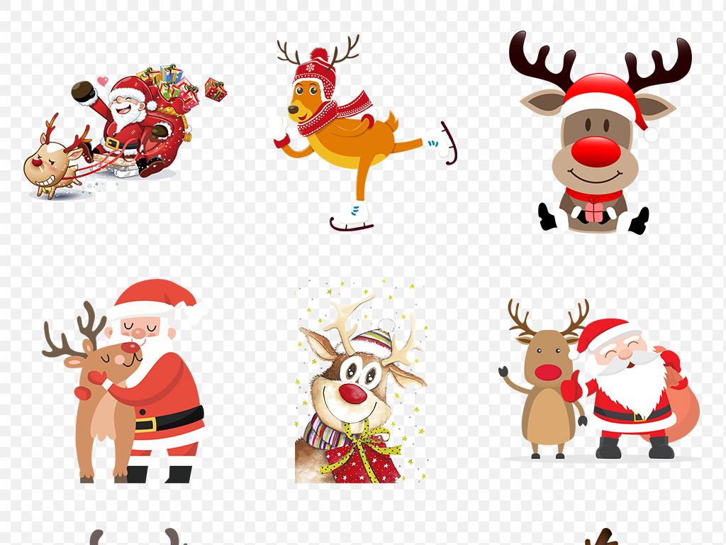 卡通水彩麋鹿圣诞鹿动物海报素材背景图片png