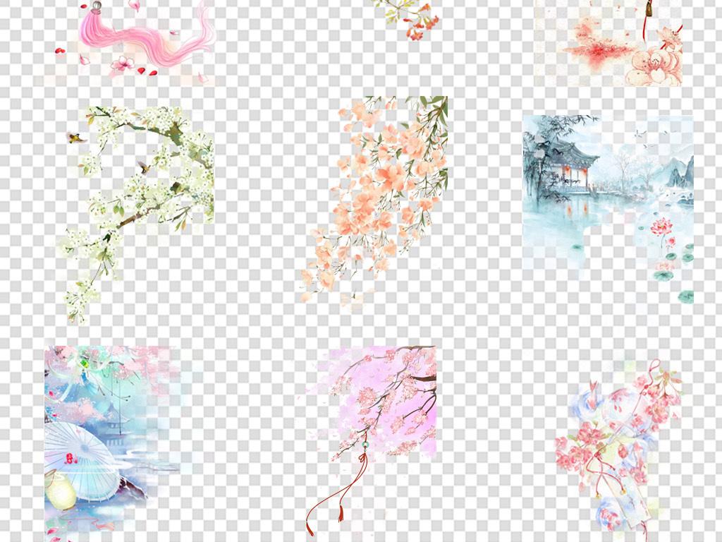 新年元素合辑 新年元素 灯笼剪纸 > 手绘古风唯美水彩水墨花卉插画免