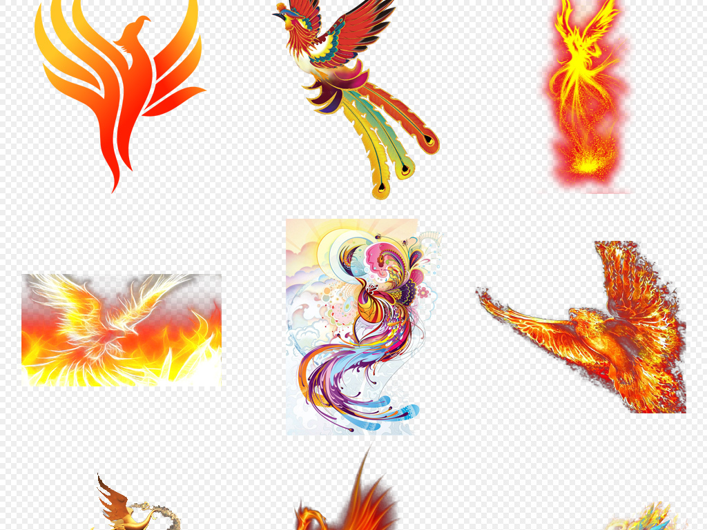传统艺术中国风手绘彩绘鸾鸟火凤凰png免抠素材