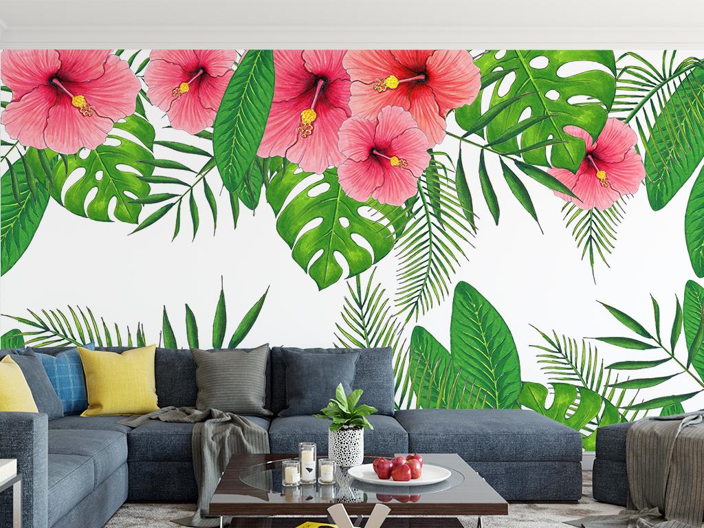 现代简约手绘热带植物花朵叶子背景墙壁画