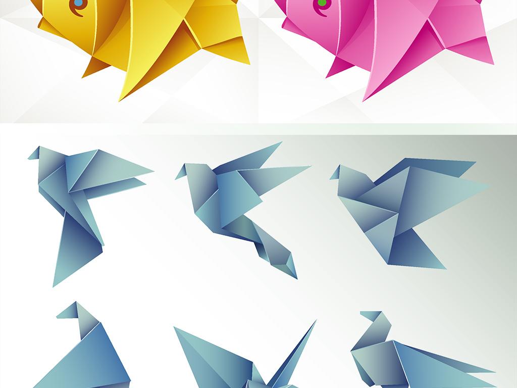 免扣矢量可爱折纸动物素材
