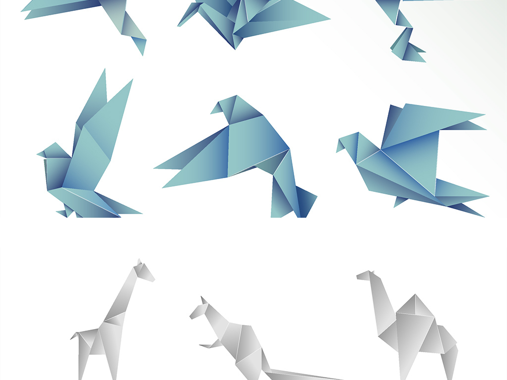 免扣矢量可爱折纸动物素材图片_ai模板下载(5.04mb)