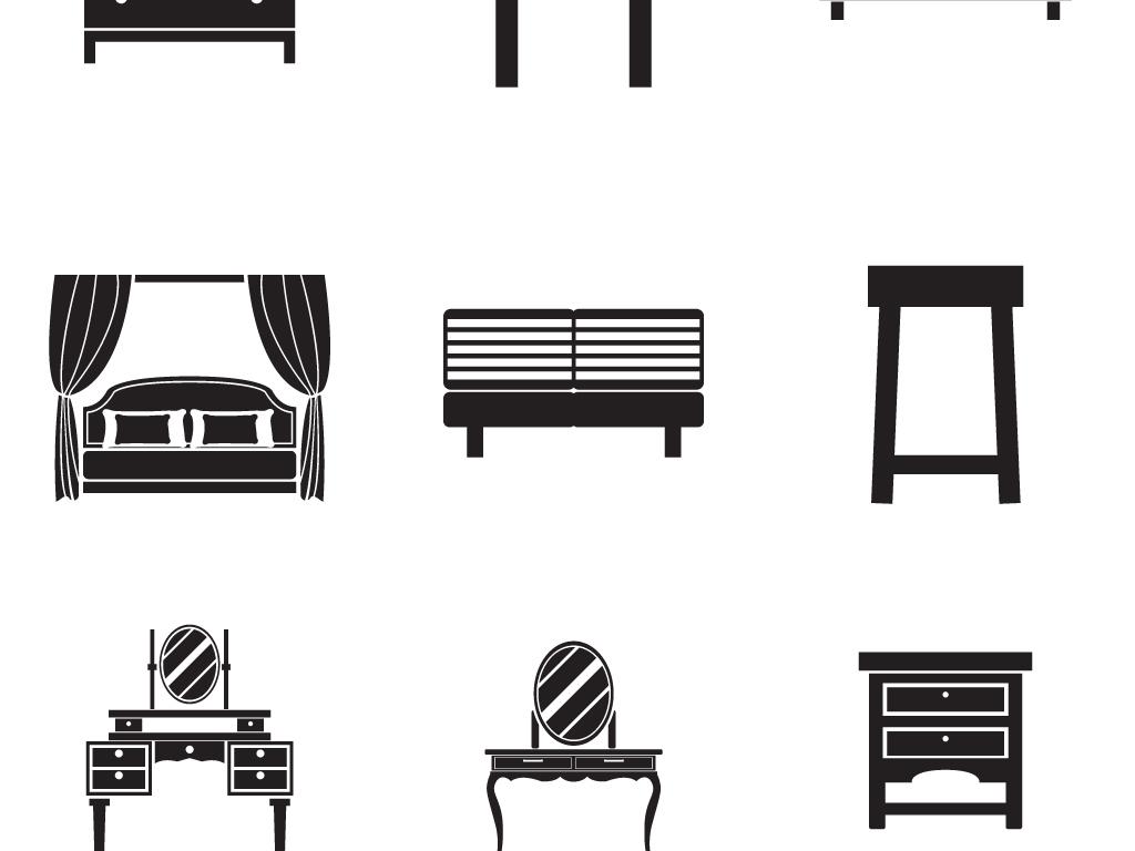 手绘线稿欧式家具创意桌椅矢量素材