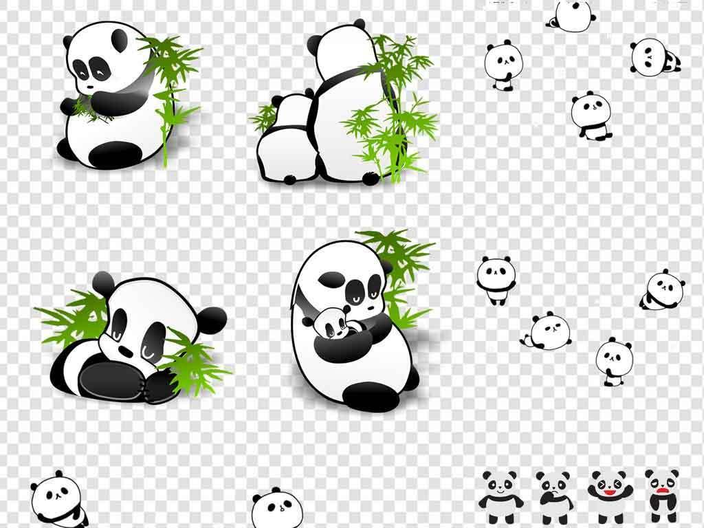 可爱手绘卡通熊猫海报素材背景png大熊猫