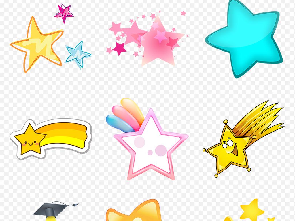 卡通手绘可爱星星手绘彩色五角星海报素材背景图片png